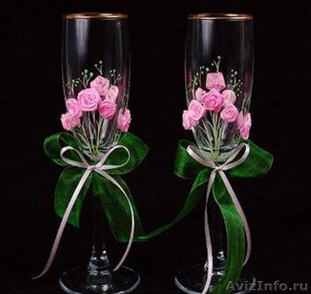 Бокалы свадебные своими руками из цветов 101